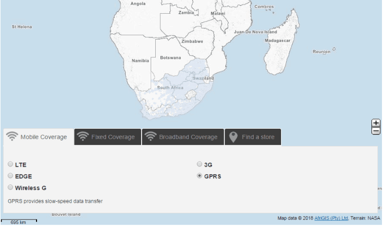 GPRS Coverage In Southern Africa