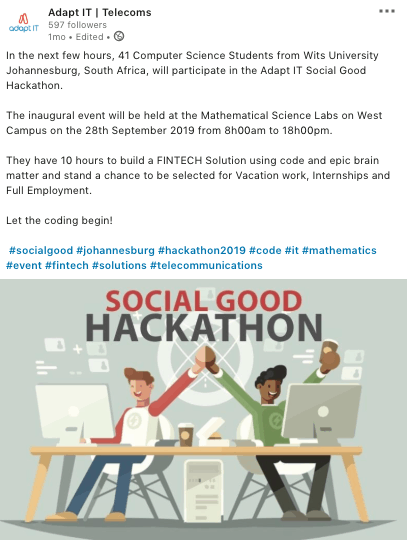 Social Good Hackathon Marketing Example