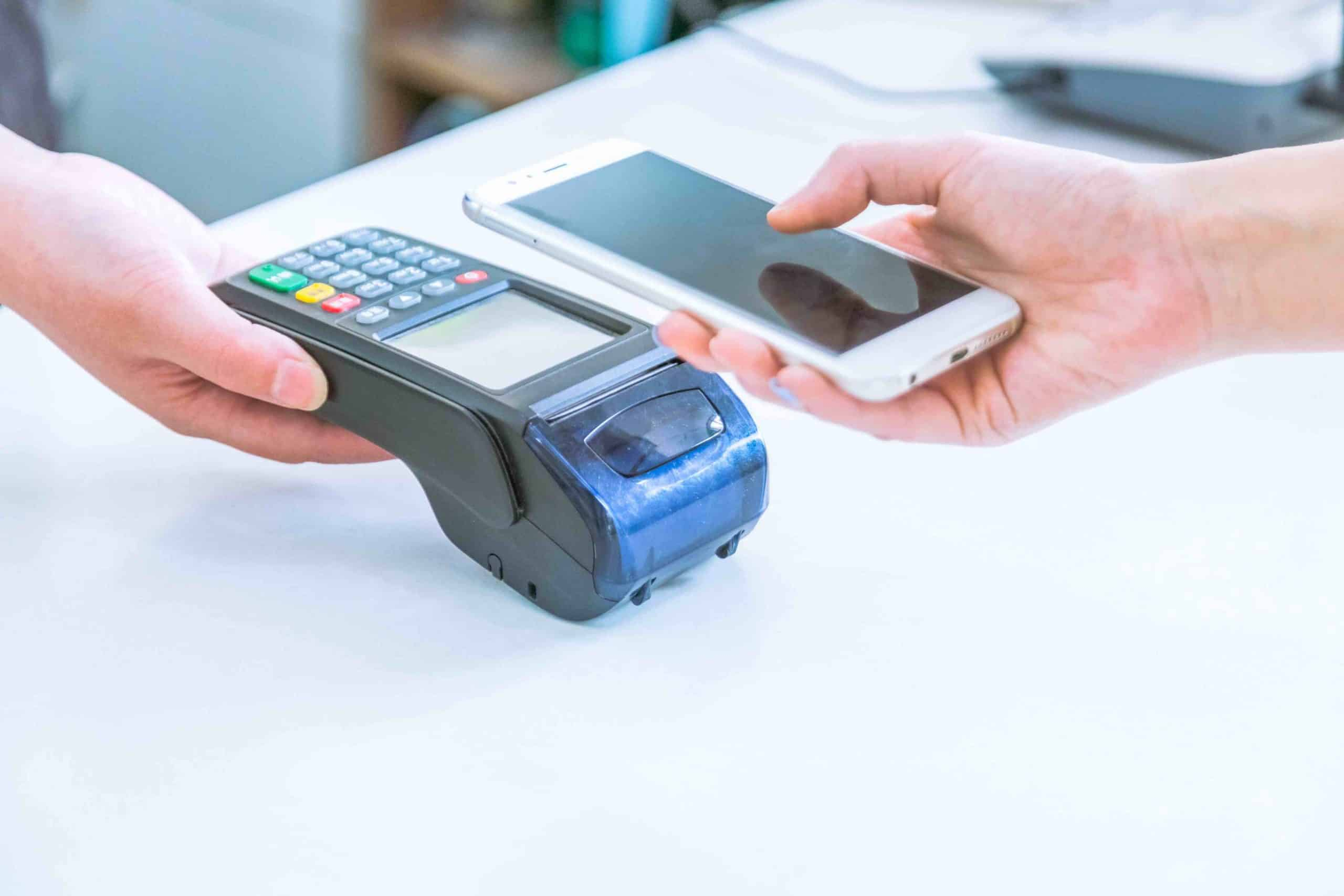 Close up of mobile payment