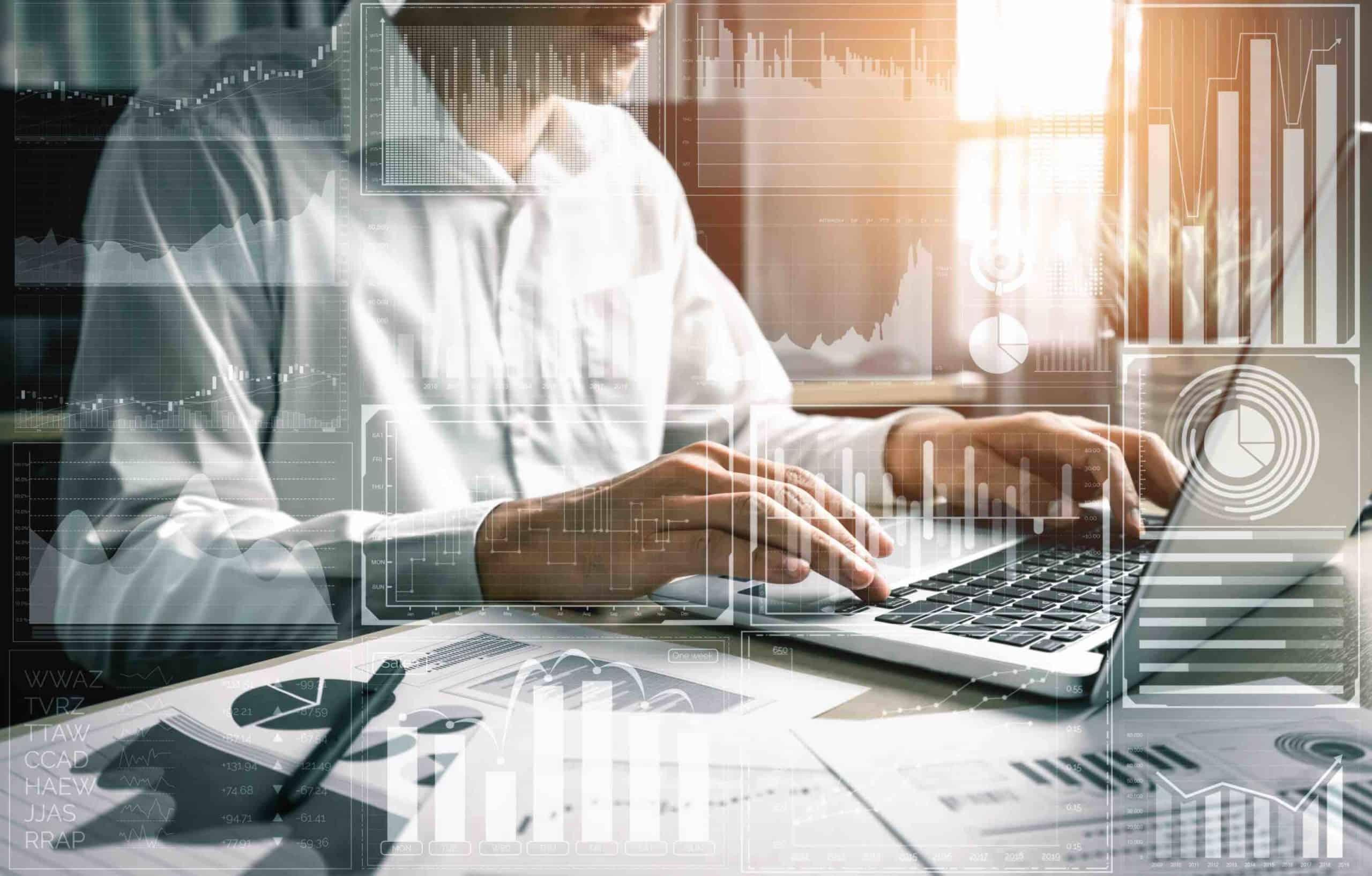 Tecnología Big Data para el concepto de finanzas empresariales.